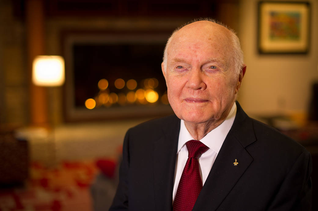 Sen. John Glenn poses for a portrait shortly after doing live television interviews from the Ohio State University Union building on Monday, Feb. 20, 2012, in Columbus, Ohio. Today marks the 50th anniversary of his historic flight. Glenn was the first American to orbit Earth. Photo Credit: (NASA/Bill Ingalls)